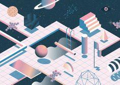 Wisdom of Floating on Behance Isometric Art, Isometric Design, Graphic Design Posters, Graphic Art, Memphis Design, Art Graphique, Grafik Design, Motion Design, Montage