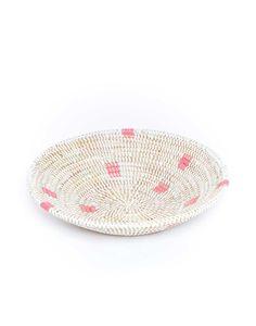 Woven Bowl - Pink Dots