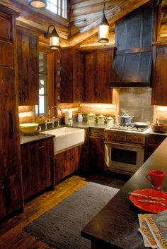 Cozy, rustic kitchen. 360 Ranch - Guest Cabins - Architect Portfolio | Miller Architects