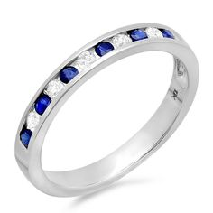 Elora 10k White Gold 1/5ct Diamond/ Blue Sapphire Stackable Anniversary Wedding Band (I-J, I2-I3) (Size 6, Yellow Gold), Women's