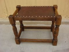 Antique Furniture French Antique Rustic Leather Stool Bench