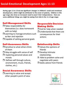 Social Emotional Development 11-13 years