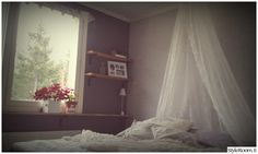 pitsiverhot,harmaa seinä,ikkunalauta,tee-se-itse / diy,romanttinen sisustus,remontti,makuuhuone,Tee itse - DIY romantic,  lace,  bedroom,