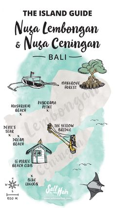 island guide map nusa lembongan nusa ceningan bali Indonesia