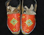 Antique Sioux quilled Native American Moccasins