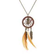 Long Owl and Leaf Feather Dreamcatcher Necklace