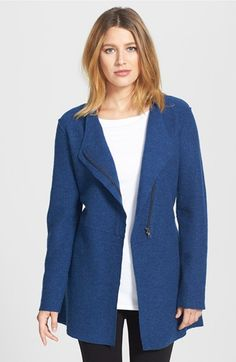Eileen Fisher Asymmetrical Boiled Merino Wool Jacket (Regular & Petite) available at #Nordstrom
