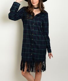 This Navy & Green Plaid Fringe Button-Up Shift Dress by Shop the Trends is perfect! #zulilyfinds