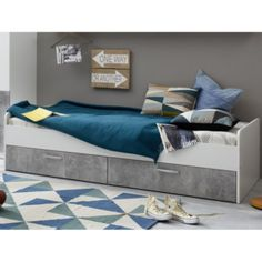 Rimini Childrens Bed In White And Stone Grey from Furniture in Fashion - Buy Online Furniture Styles, Quality Furniture, Couch, Cabinet, Storage, Home Decor, Clothes Stand, Purse Storage, Settee