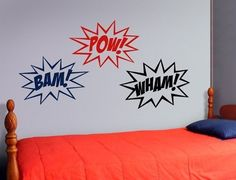 Comic book wall decals. I really want to do Gabe's room in a retro comic book feel.