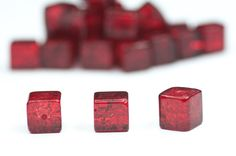 24pics Red Glass Beads Square Glass Beads Supplies Jewelry Making Summer Glass Beads Craft Supplies via Etsy