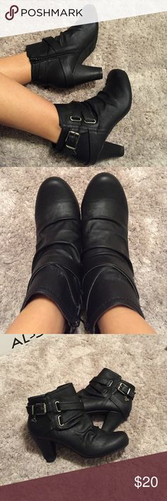 Black scrunched booties Black Fergalicious ankle booties with small charm detail. Never worn. Fergalicious Shoes Ankle Boots & Booties