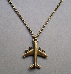Airplane Necklace in Antique Brass. Pilot. Jetsetter. World Traveler. Air Force. ON SALE      From lakeshorecreations4u