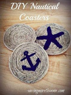 Rope Crafts, Beach Crafts, Diy And Crafts, Homemade Gifts, Diy Gifts, Nautical Theme, Nautical Rope, Nautical Baby, Nautical Craft