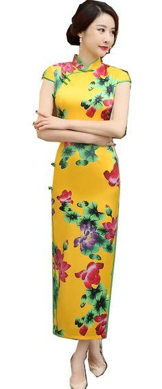 Free shipping China Qipao Dress Faux Silk chinese style long cheongsam dress Chinese Oriental dress Vintage Dresses