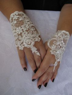 Bridal Wrist CuffsWhite Lace Gloves by StudioCybele on Etsy