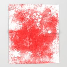 Red texture and snowflakes for Christmas Throw Blanket