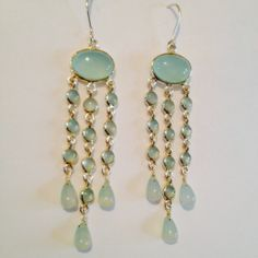 Silver and Chalcedony Pendant Earrings