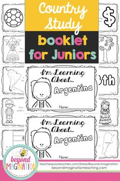 Argentina country study booklet for juniors by Beyond Imagination. Perfect for teaching young ones fun facts about Argentina for a social studies lesson. This Argentina country study booklet includes basic information about: -The Argentinian flag -The map of Argentina  -Argentina's population  -Largest Spanish speaking country in the world  -Argentina's location in South America -8th largest country in the world  -Latin tango  -Argentinas national parks  -Most popular sport