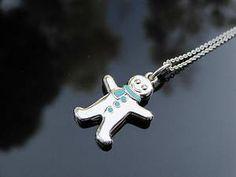 gingerbread man jewelry | Tiffany Co Silver Blue Enamel Gingerbread Man Charm Pendant Necklace ...