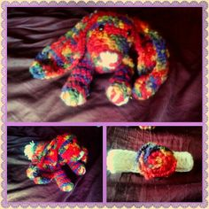 Crocheted rainbow bunny and matching infant headband