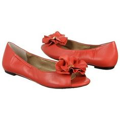 Naturalizer Posie Shoe - coral flats with flower peep toe