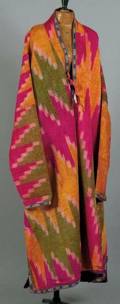 Costume. Costume en soie d'Asie Centrale en Ikat, Nord de l'Afghanistan.