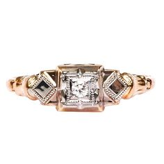 Art Deco #Diamond #Gold #Engagement Ring