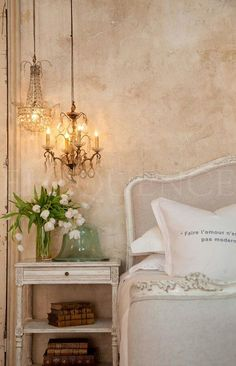 Small chandeliers for bedside lighting in shabby chic bedroom. French Country Bedrooms, French Country Cottage, Country Chic, Country Living, White Cottage, Country Houses, French Decor, French Country Decorating, Decoration Bedroom