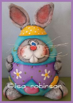 COSMOS hand painted bunny rabbit egg gourd daisy jelly beans candy spring garden Easter ofg prim chick