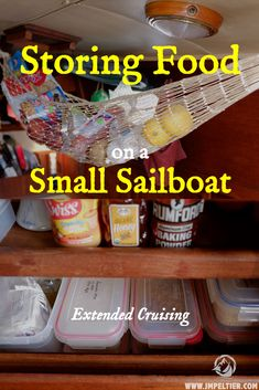 Storing Food on a Small Sailboat for Long-Term Cruising - Sailboat interior - Sailboat Living, Living On A Boat, Sailboat Interior, Yacht Interior, Catamaran, Liveaboard Sailboat, Liveaboard Boats, Boat Organization, Boat Food