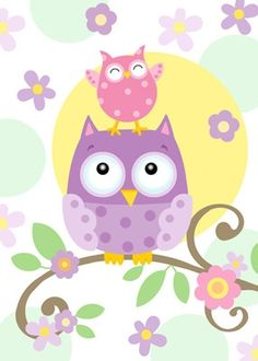 The Owl Friends wall mural shows that these two are truly birds of a feather. Surrounded by colorful pastel flowers, a small pink owl stands atop his purple pal but he doesn't seem to mind. Vitrine Design, Owl Wallpaper, Murals Your Way, Owl Always Love You, Owl Crafts, Cute Clipart, Owl Bird, Cute Owl, Baby Quilts