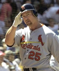 "Mark McGwire, nicknamed,""Big Mac"" is currently serving as hitting coach for the Los Angeles Dodgers. As a first baseman, McGwire played in Major League Baseball for the Oakland Athletics and the St. Louis Cardinals between 1986 and St Louis Baseball, St Louis Cardinals Baseball, Stl Cardinals, Baseball Card Values, Baseball Cards, Baseball Photos, American Baseball League, Famous Baseball Players, Cardinals Players"