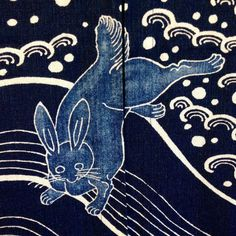 Leaping bunny on noren - try block printing as part of boro/shashiko project