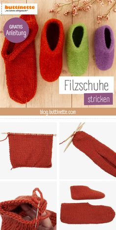 Kostenlose Anleitung: Filzpantoffeln – Kleiner Balkon Ideen Pushing – slippers – slippers, nice and thick – small balcony ideas Arm Knitting, Knitting Socks, Knitting Patterns, Drops Design, Baby Booties, Baby Shoes, Diy Mode, Learn How To Knit, Felted Slippers