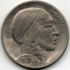 RAY CASTRO HOBO NICKEL - 1937 BUFFALO PROFILE Hobo Nickel, Coin Art, Buffalo, Classic Style, Coins, Carving, Profile, User Profile, Rooms