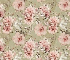 Vintage Shabby Rose: features soft blushing roses distressed against an aged textured background :) See the Vintage Shabby Chic collection for a variety of co-ordinating 'Vintage Shabby' Designs  This design is also available in a palette of lemon & teal tones here   This design is also available in a palate of blue & brown tones here