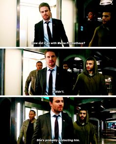 """""""How did it go with Mama Prometheus?"""" - Rene, Curtis, Oliver and John #Arrow"""