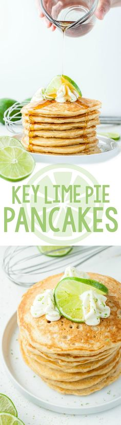 Ultra fluffy and bursting with flavor, these tasty Key Lime Pie Pancakes are guaranteed to transform breakfast into the BEST meal of the day! Brunch it up! Yummy Pancake Recipe, Tasty Pancakes, Pancake Recipes, Pancake Ideas, Fruit Pancakes, Fluffy Pancakes, Pancake Bar, Waffle Recipes, Key Lime Pie