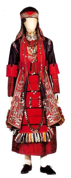 Bridal costume worn in the five largest villiages of Thessaloniki (northern Greece). Greek Traditional Dress, Traditional Outfits, Historical Costume, Historical Clothing, Authentic Costumes, Ethnic Dress, Greek Clothing, Folk Costume, Bulgaria