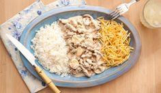 Brazilian Beef Stroganoff--HINT use google translate 4 colheres (sopa) de manteiga 1 quilo de carne em tiras finas (filé mignon, contra-filé ou, alcatra) 2 cebolas picadas meia colher (sopa)...