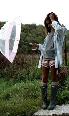 rainy day comfy w/ Hunter-boots