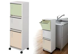 livingut: Garbage bin recycle vertical separation wagon 3 columns wide green castors (Recycle Bin dust box kitchen trash bin fractionation dust BOX wastebasket) - Purchase now to accumulate reedemable points! Garbage Recycling, Recycling For Kids, Recycling Bins, Kitchen Dinning Room, Kitchen Room Design, Kitchen Decor, Kitchen Nightmares, Small Kitchen Organization, U Shaped Kitchen