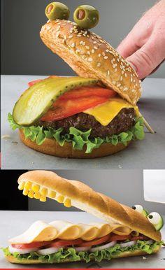 Frog Burger and Alligator Sub Sandwich Ideas #kids #eat #kidseating #nice #tasty #food #kidsfood #dessert