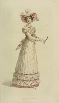 A spotted evening gown 1824 Ackermann Fanny's gown with the glossy spots