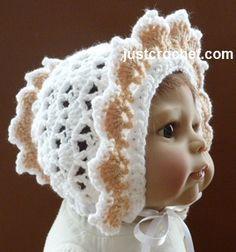 Free baby crochet pattern for frilled bonnet http://www.justcrochet.com/frilled-bonnet-usa.html #patternsforcrochet