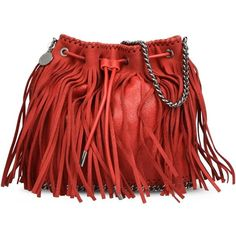 Stella McCartney Cherry Falabella Fringed Bucket Bag ($1,285) ❤ liked on Polyvore featuring bags, handbags, shoulder bags, red, red purse, fringe shoulder bag, red fringe purse, bucket bag and shoulder strap bag