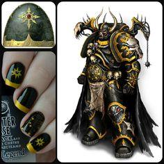 Black Legion Warhammer manicure collage