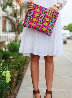 Brightly patterned clutch