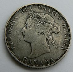KEY DATE CANADA 25 CENTS COIN 1885 SILVER VICTORIA 99P START